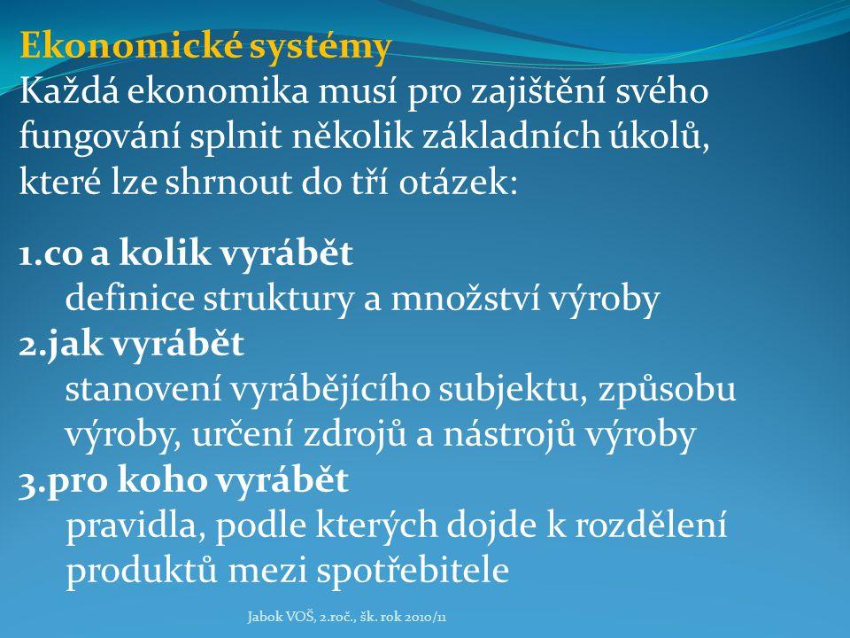 Jabok VOŠ, 2.roč., šk. rok 2010/11 Ekonomické systémy Každá ekonomika musí pro zajištění svého fungování splnit několik základních úkolů, které lze sh