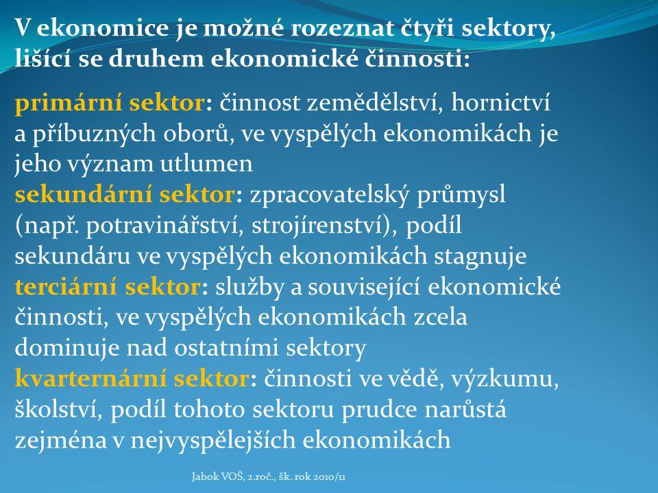 Jabok VOŠ, 2.roč., šk. rok 2010/11 V ekonomice je možné rozeznat čtyři sektory, lišící se druhem ekonomické činnosti: primární sektor: činnost zeměděl