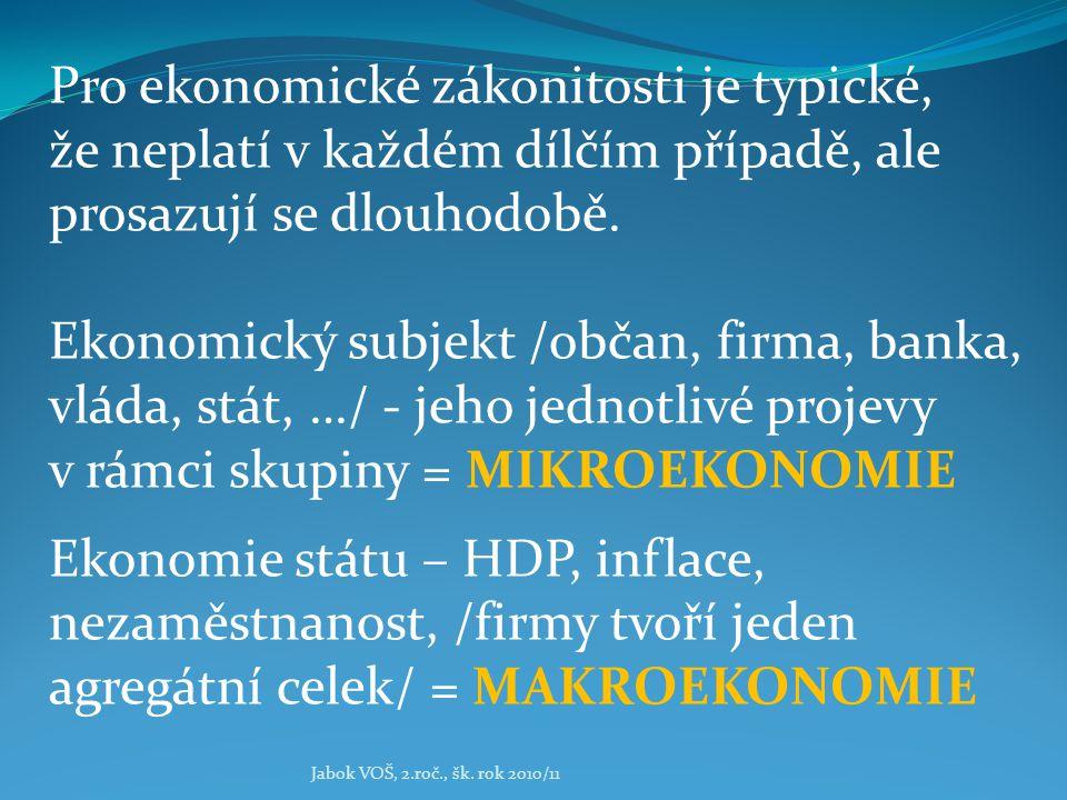 Jabok VOŠ, 2.roč., šk. rok 2010/11 Pro ekonomické zákonitosti je typické, že neplatí v každém dílčím případě, ale prosazují se dlouhodobě. Ekonomický