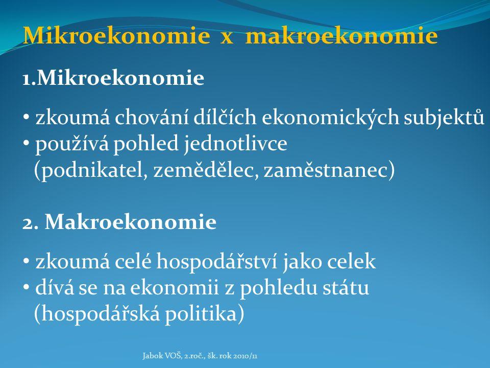 Jabok VOŠ, 2.roč., šk. rok 2010/11 Mikroekonomie x makroekonomie 1.Mikroekonomie zkoumá chování dílčích ekonomických subjektů používá pohled jednotliv