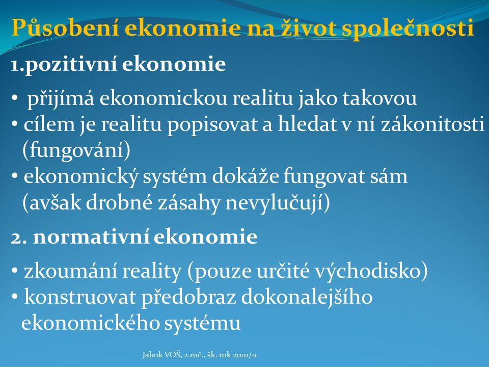 Jabok VOŠ, 2.roč., šk. rok 2010/11 Působení ekonomie na život společnosti 1.pozitivní ekonomie přijímá ekonomickou realitu jako takovou cílem je reali