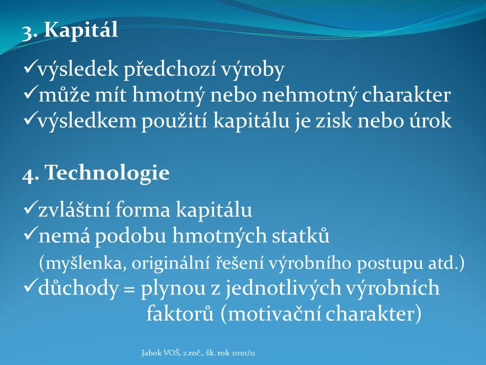 Jabok VOŠ, 2.roč., šk. rok 2010/11 3. Kapitál výsledek předchozí výroby může mít hmotný nebo nehmotný charakter výsledkem použití kapitálu je zisk neb