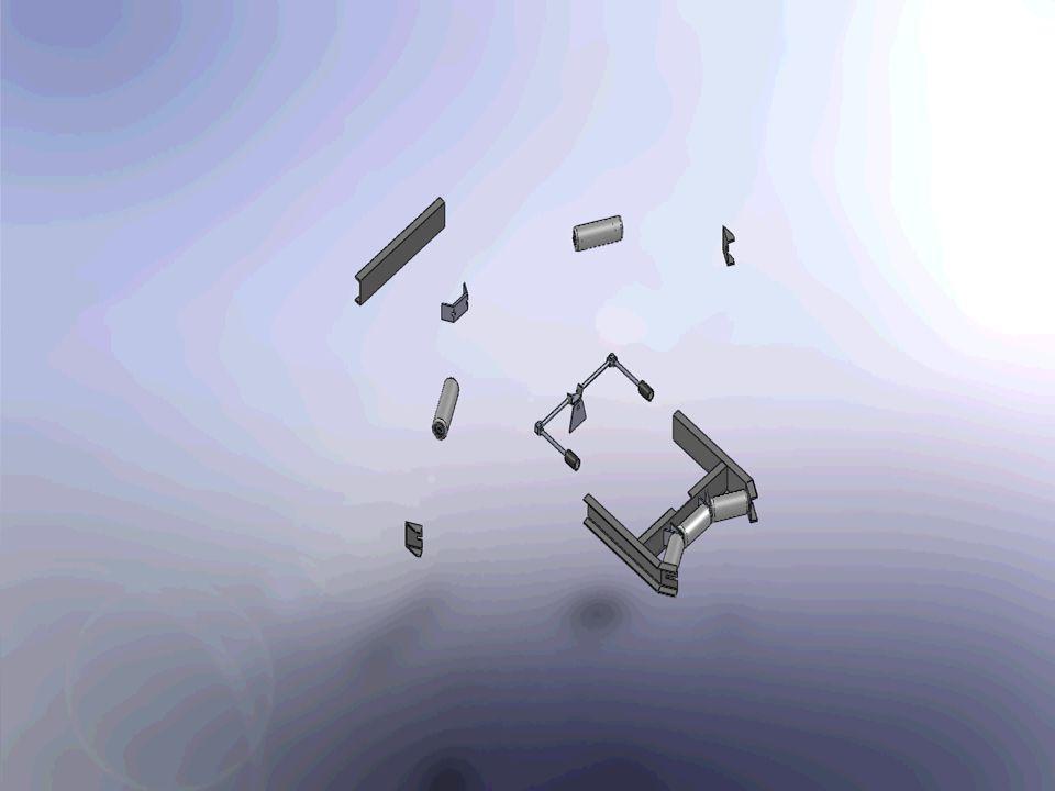 STRÁŽNÍ MECHANISMUS- STRÁŽNÍ VĚŽ jednoduchý kinematický mechanismus zabraňuje sesmeknutí pásu s dopravníku funguje na principu vratné páky jeho vychýlení má rozmezí od 3 až 5° - pote se rázem vrací zpět do nulové polohy