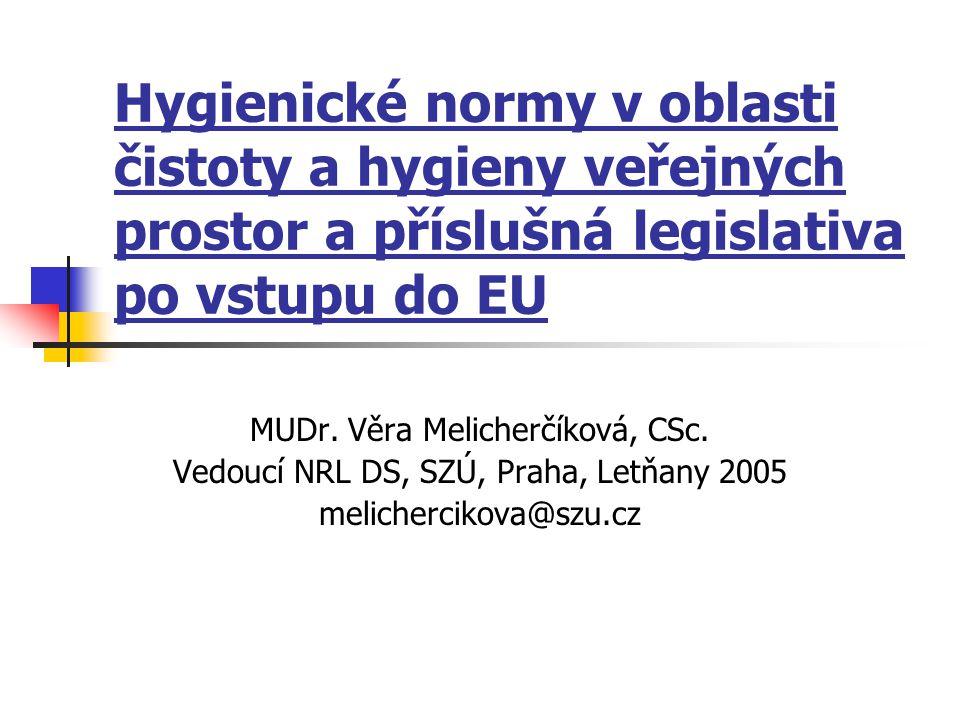 Hygienické normy v oblasti čistoty a hygieny veřejných prostor a příslušná legislativa po vstupu do EU MUDr. Věra Melicherčíková, CSc. Vedoucí NRL DS,