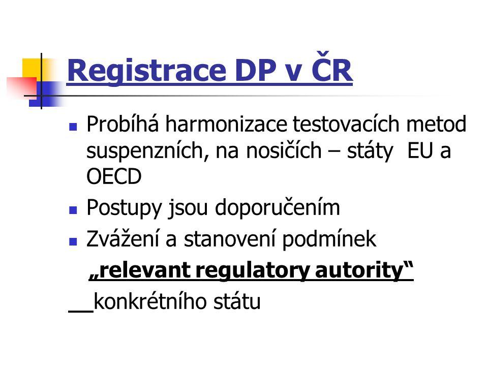 Registrace DP v ČR Probíhá harmonizace testovacích metod suspenzních, na nosičích – státy EU a OECD Postupy jsou doporučením Zvážení a stanovení podmí