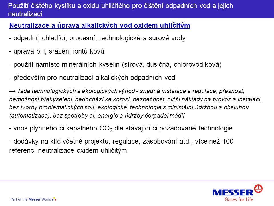 Neutralizace a úprava alkalických vod oxidem uhličitým - odpadní, chladící, procesní, technologické a surové vody - úprava pH, srážení iontů kovů - po