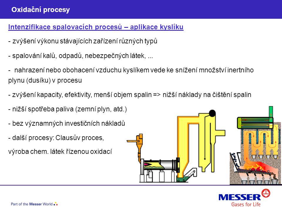 Intenzifikace spalovacích procesů – aplikace kyslíku - zvýšení výkonu stávajících zařízení různých typů - spalování kalů, odpadů, nebezpečných látek,.