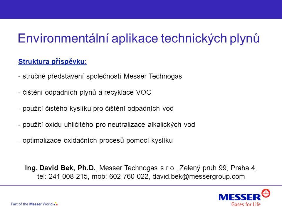 Struktura příspěvku: - stručné představení společnosti Messer Technogas - čištění odpadních plynů a recyklace VOC - použití čistého kyslíku pro čištěn