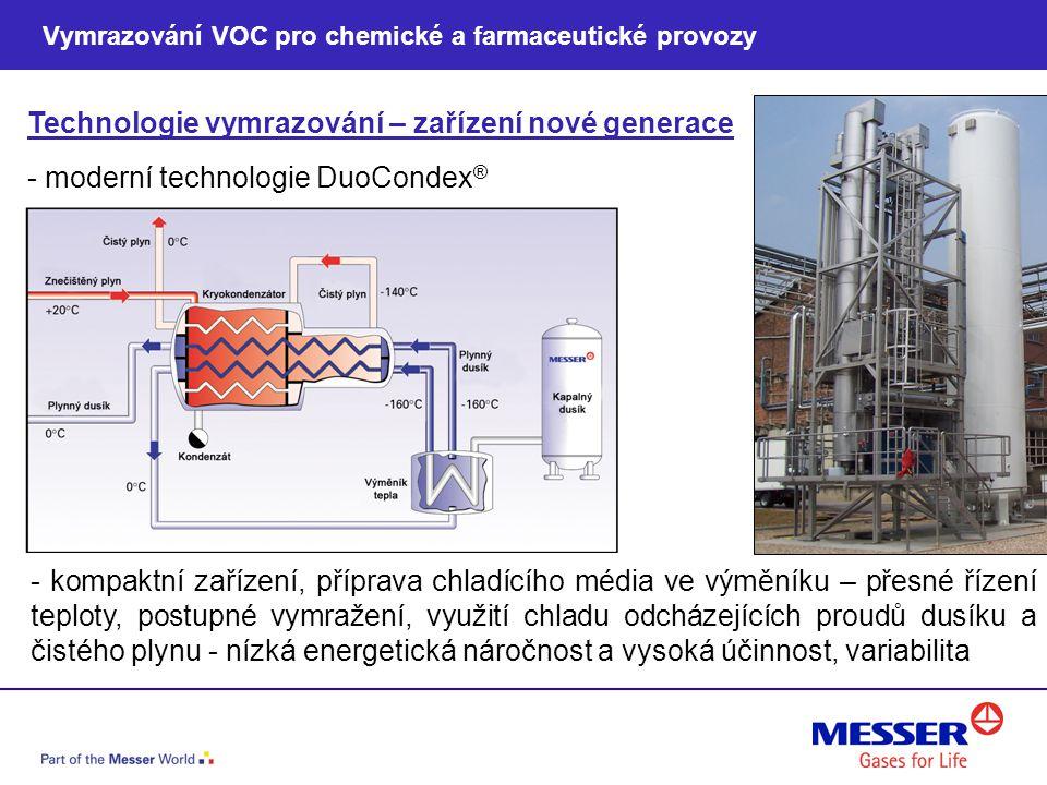 Technologie vymrazování – zařízení nové generace - kompaktní zařízení, příprava chladícího média ve výměníku – přesné řízení teploty, postupné vymraže