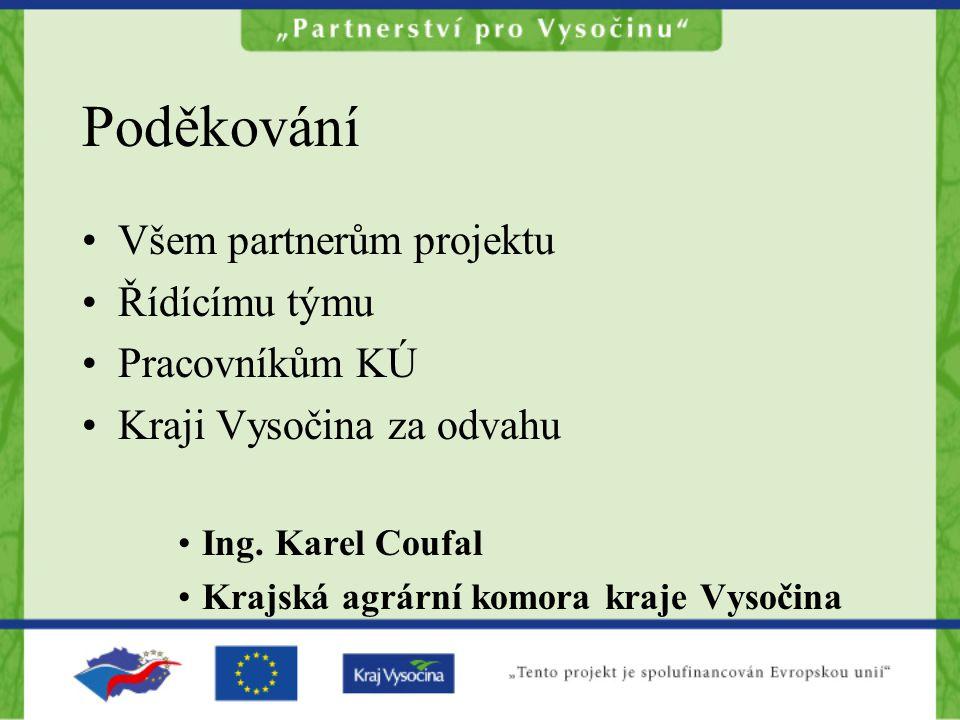 Poděkování Všem partnerům projektu Řídícímu týmu Pracovníkům KÚ Kraji Vysočina za odvahu Ing. Karel Coufal Krajská agrární komora kraje Vysočina