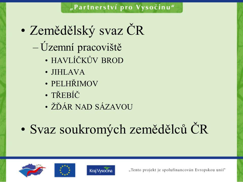Zemědělský svaz ČR –Územní pracoviště HAVLÍČKŮV BROD JIHLAVA PELHŘIMOV TŘEBÍČ ŽĎÁR NAD SÁZAVOU Svaz soukromých zemědělců ČR