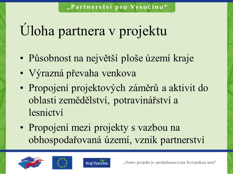 Úloha partnera v projektu Působnost na největší ploše území kraje Výrazná převaha venkova Propojení projektových záměrů a aktivit do oblasti zemědělst