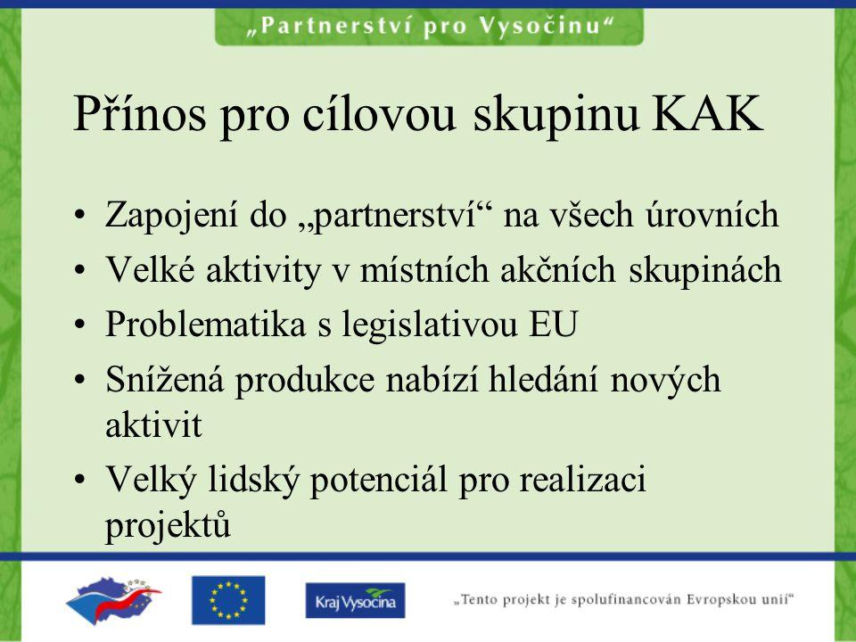"""Přínos pro cílovou skupinu KAK Zapojení do """"partnerství"""" na všech úrovních Velké aktivity v místních akčních skupinách Problematika s legislativou EU"""