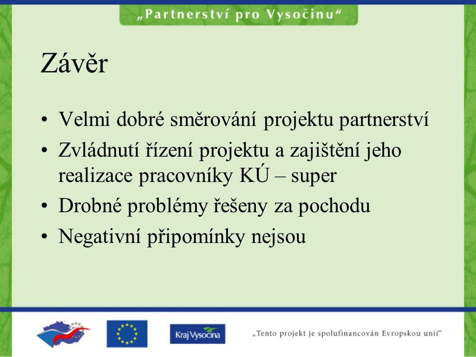 Závěr Velmi dobré směrování projektu partnerství Zvládnutí řízení projektu a zajištění jeho realizace pracovníky KÚ – super Drobné problémy řešeny za