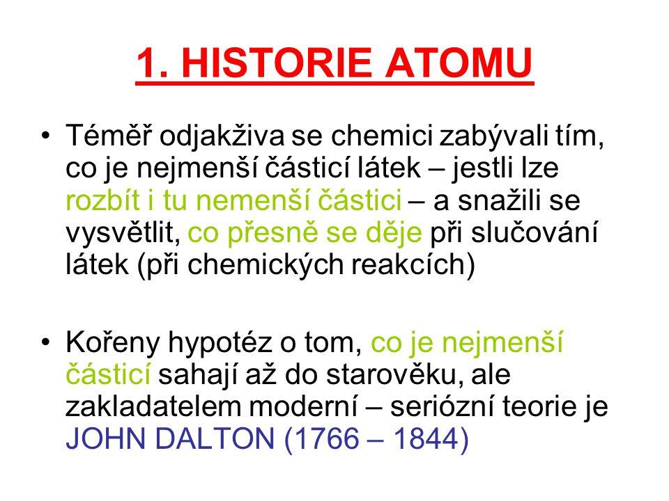 1. HISTORIE ATOMU Téměř odjakživa se chemici zabývali tím, co je nejmenší částicí látek – jestli lze rozbít i tu nemenší částici – a snažili se vysvět