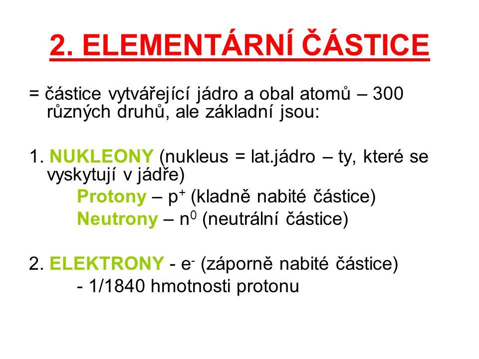 2. ELEMENTÁRNÍ ČÁSTICE = částice vytvářející jádro a obal atomů – 300 různých druhů, ale základní jsou: 1. NUKLEONY (nukleus = lat.jádro – ty, které s