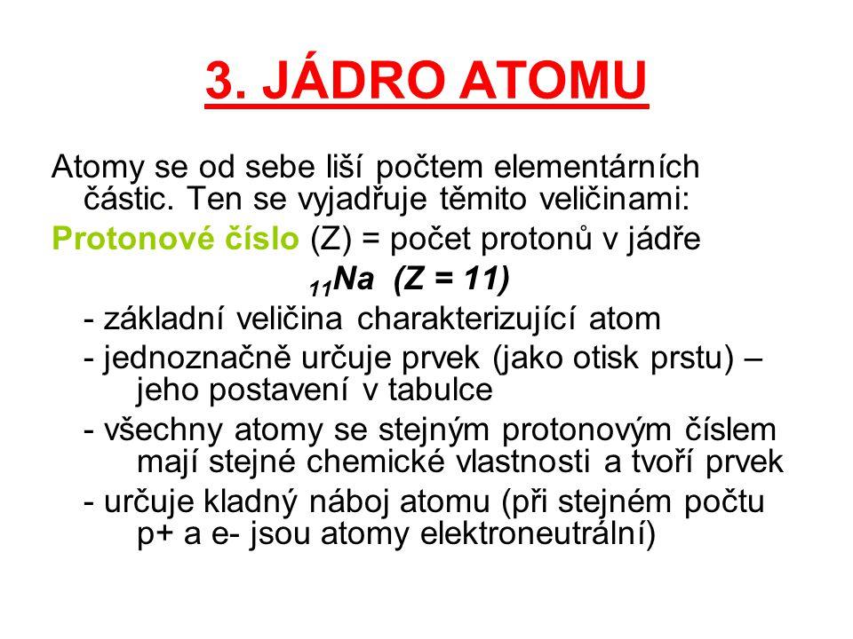 Nukleonové číslo (A) = počet nukleonů (p + + n 0 ) 23 11 Na (A = 23 = 11 + 12) - látky se stejným Z i stejným A = nuklidy - látky se stejným Z, ale jiným A = izotopy Izotopy mají stejné chemické vlastnosti, ale liší se fyzikálními vlastnostmi (teplota varu, rozpustnost, hmotnost…) Nukleony jsou v jádře poutány jadernými silami, které nejsou ještě zcela objasněny, ale víme, že: - jsou značně velké - působí jen na malé vzdálenosti (10 -15 m)