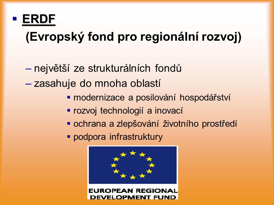  ERDF (Evropský fond pro regionální rozvoj) – –největší ze strukturálních fondů – –zasahuje do mnoha oblastí   modernizace a posilování hospodářstv