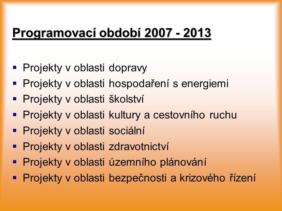 Programovací období 2007 - 2013   Projekty v oblasti dopravy   Projekty v oblasti hospodaření s energiemi   Projekty v oblasti školství   Proj