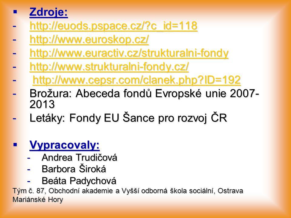  Zdroje: -http://euods.pspace.cz/?c_id=118 http://euods.pspace.cz/?c_id=118 -http://www.euroskop.cz/ http://www.euroskop.cz/ -http://www.euractiv.cz/