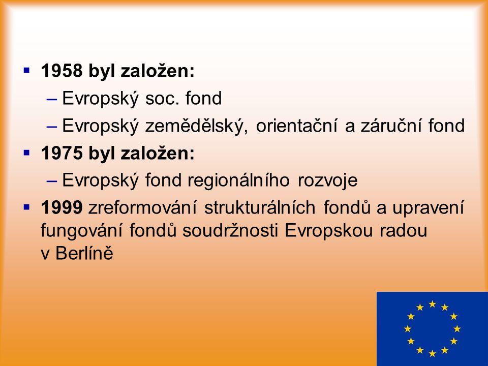   1958 byl založen: – –Evropský soc. fond – –Evropský zemědělský, orientační a záruční fond   1975 byl založen: – –Evropský fond regionálního rozv