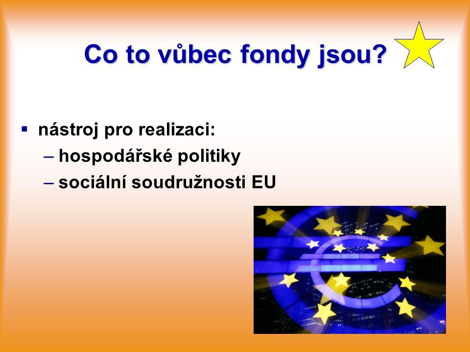 Co to vůbec fondy jsou?   nástroj pro realizaci: – –hospodářské politiky – –sociální soudružnosti EU