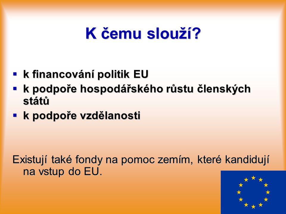 K čemu slouží?  k financování politik EU  k podpoře hospodářského růstu členských států  k podpoře vzdělanosti Existují také fondy na pomoc zemím,