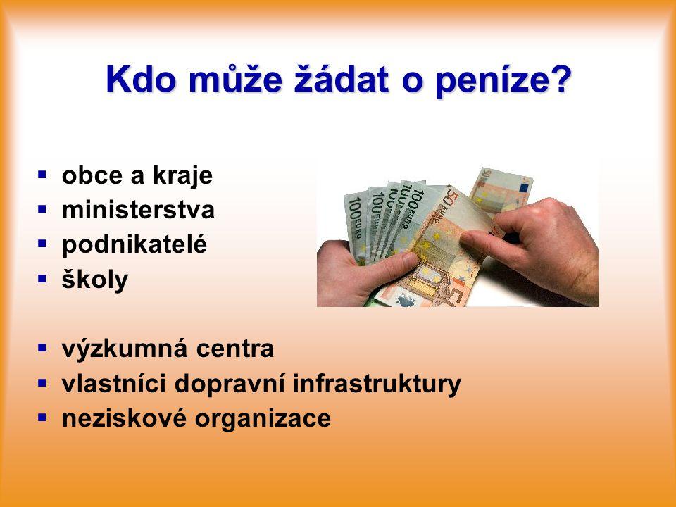 Kdo může žádat o peníze?   obce a kraje   ministerstva   podnikatelé   školy   výzkumná centra   vlastníci dopravní infrastruktury   nez