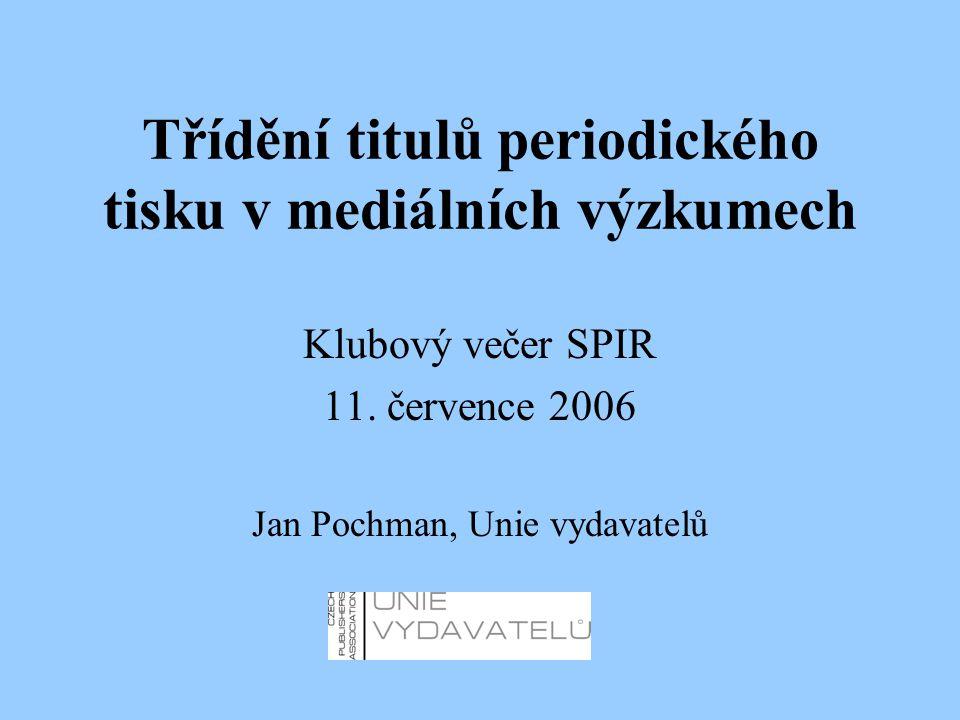Třídění titulů periodického tisku v mediálních výzkumech Klubový večer SPIR 11.