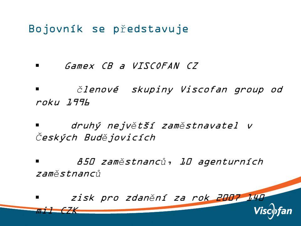 2 Bojovník se představuje  Gamex CB a VISCOFAN CZ  členové skupiny Viscofan group od roku 1996  druhý největší zaměstnavatel v Českých Budějovicích  850 zaměstnanců, 10 agenturních zaměstnanců  zisk pro zdanění za rok 2007 140 mil CZK