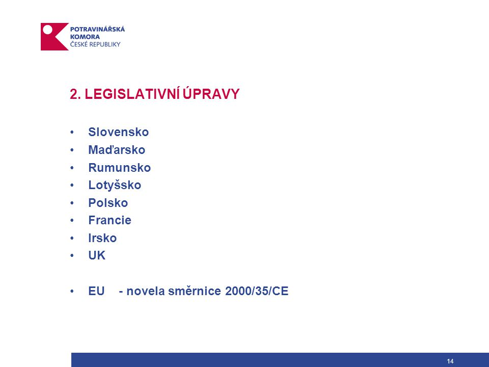 14 2. LEGISLATIVNÍ ÚPRAVY Slovensko Maďarsko Rumunsko Lotyšsko Polsko Francie Irsko UK EU- novela směrnice 2000/35/CE