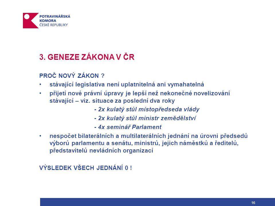 16 3. GENEZE ZÁKONA V ČR PROČ NOVÝ ZÁKON .