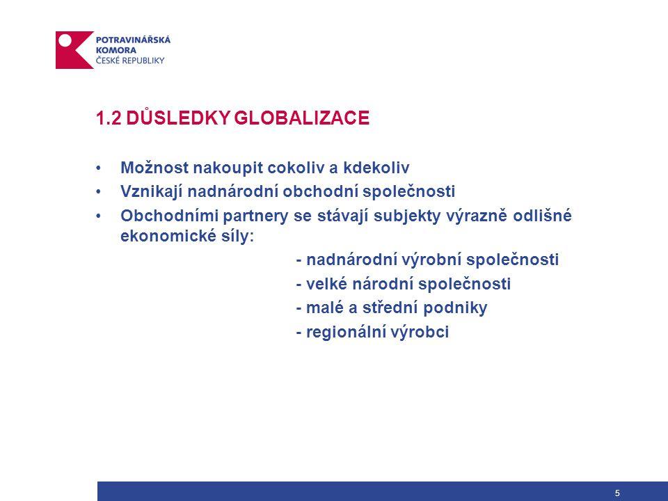 5 1.2 DŮSLEDKY GLOBALIZACE Možnost nakoupit cokoliv a kdekoliv Vznikají nadnárodní obchodní společnosti Obchodními partnery se stávají subjekty výrazně odlišné ekonomické síly: - nadnárodní výrobní společnosti - velké národní společnosti - malé a střední podniky - regionální výrobci