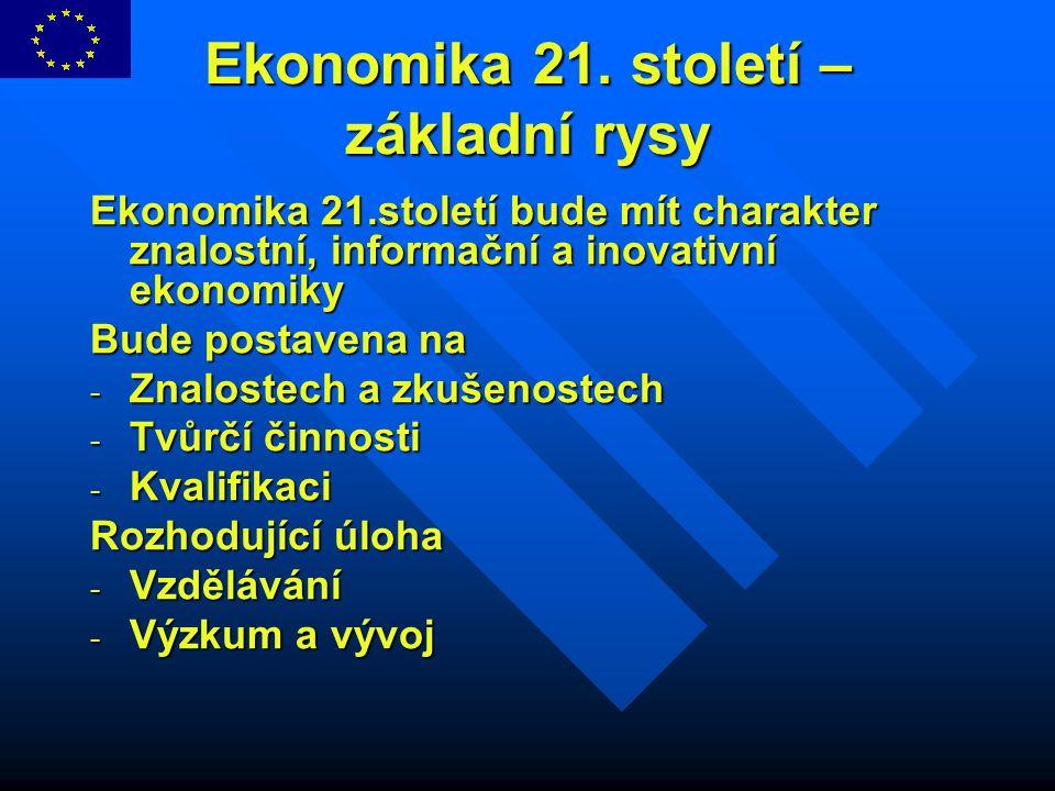 Ekonomika 21. století – základní rysy Ekonomika 21.století bude mít charakter znalostní, informační a inovativní ekonomiky Bude postavena na - Znalost