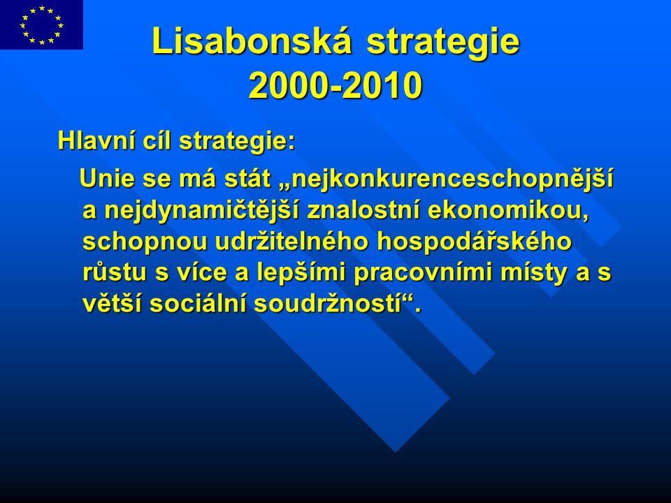 """Lisabonská strategie 2000-2010 Hlavní cíl strategie: Unie se má stát """"nejkonkurenceschopnější a nejdynamičtější znalostní ekonomikou, schopnou udržite"""