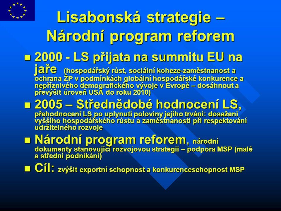 Lisabonská strategie – Národní program reforem 2000 - LS přijata na summitu EU na jaře (hospodářský růst, sociální koheze-zaměstnanost a ochrana ŽP v