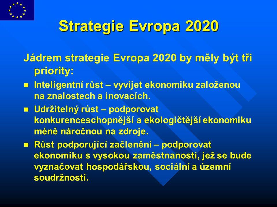 Strategie Evropa 2020 Jádrem strategie Evropa 2020 by měly být tři priority: Inteligentní růst – vyvíjet ekonomiku založenou na znalostech a inovacích