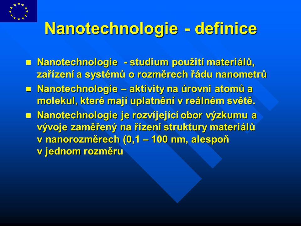 Nanotechnologie - definice Nanotechnologie - studium použití materiálů, zařízení a systémů o rozměrech řádu nanometrů Nanotechnologie - studium použit