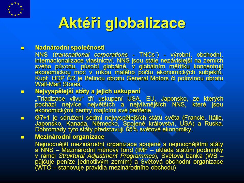 Aktéři globalizace Nadnárodní společnosti Nadnárodní společnosti NNS (transnational corporations - TNCs´) - výrobní, obchodní, internacionalizace vlas
