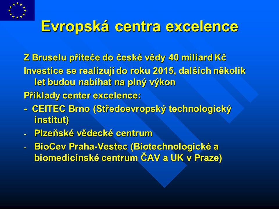 Evropská centra excelence Z Bruselu přiteče do české vědy 40 miliard Kč Investice se realizují do roku 2015, dalších několik let budou nabíhat na plný