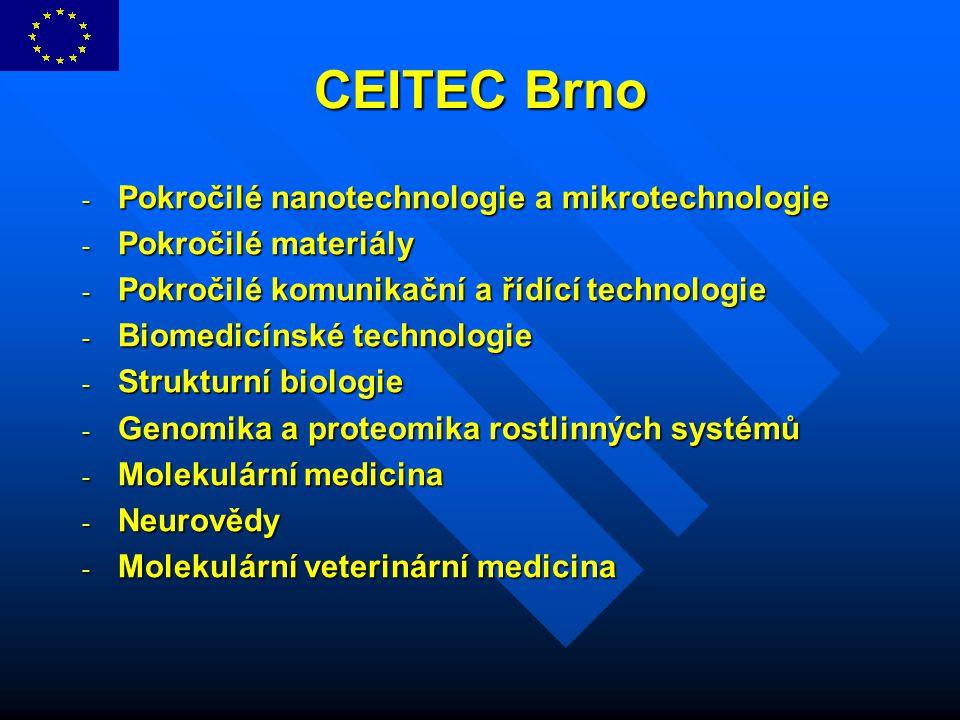 CEITEC Brno - Pokročilé nanotechnologie a mikrotechnologie - Pokročilé materiály - Pokročilé komunikační a řídící technologie - Biomedicínské technolo