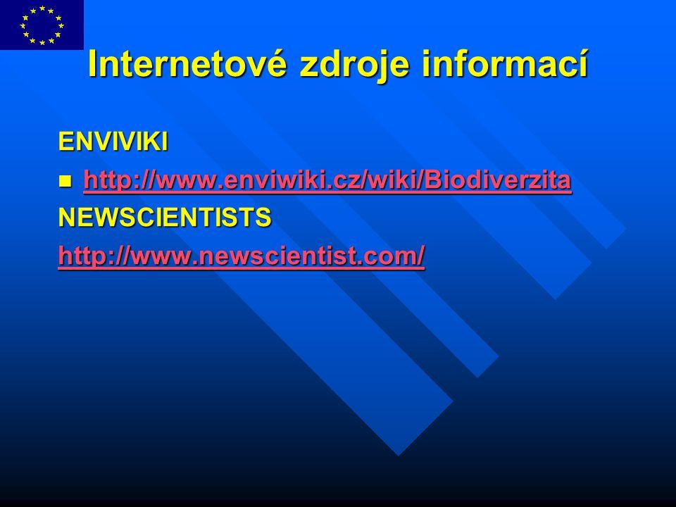Internetové zdroje informací ENVIVIKI http://www.enviwiki.cz/wiki/Biodiverzita http://www.enviwiki.cz/wiki/Biodiverzita http://www.enviwiki.cz/wiki/Bi