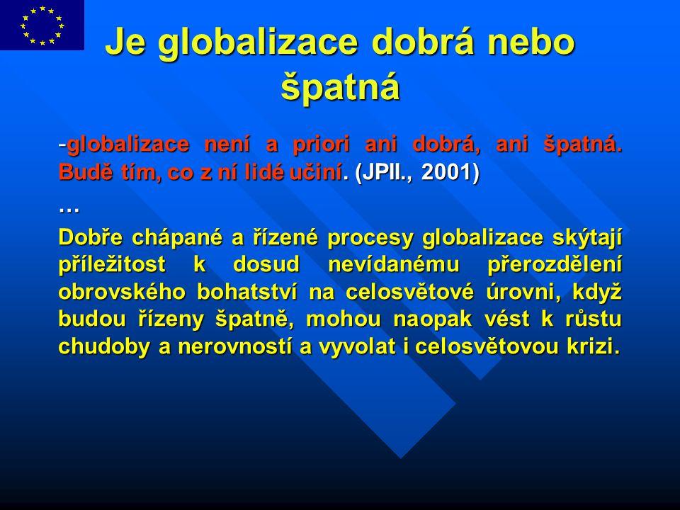 Je globalizace dobrá nebo špatná - globalizace není a priori ani dobrá, ani špatná. Budě tím, co z ní lidé učiní. (JPII., 2001) … Dobře chápané a říze