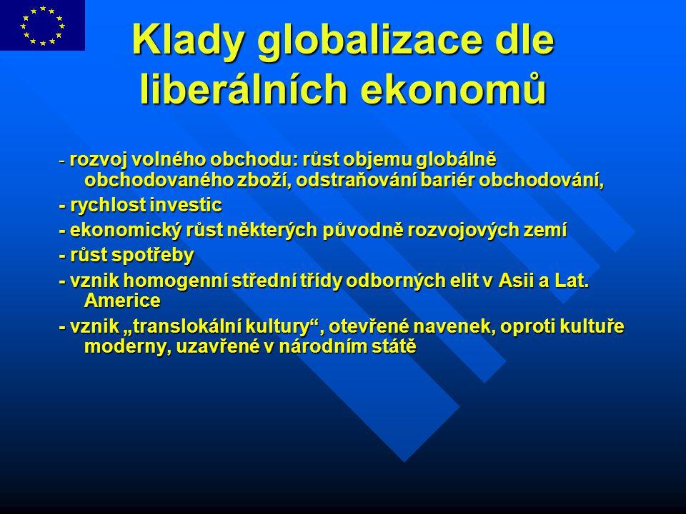 Klady globalizace dle liberálních ekonomů - rozvoj volného obchodu: růst objemu globálně obchodovaného zboží, odstraňování bariér obchodování, - rychl