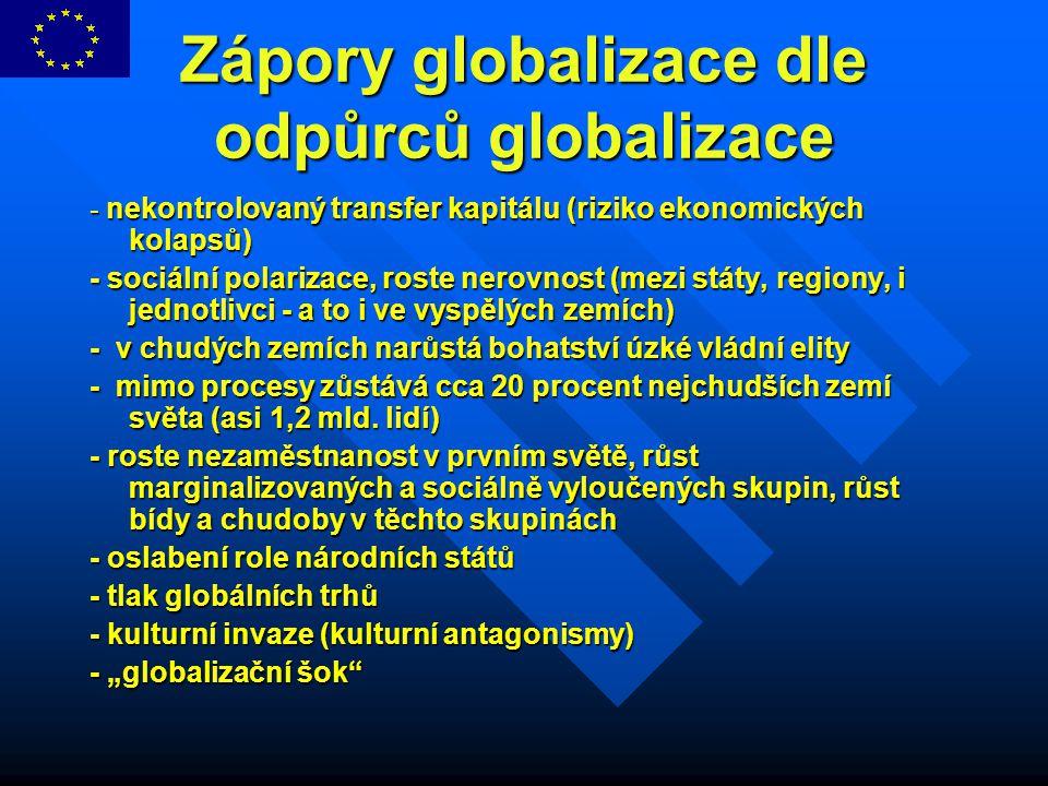 Dopady globalizace - shrnutí - globalizace výrazně mění vztah mezi ekonomickými (globalizovanými) a politickými (národními)m silami - síly ekonomické volně překračují hranice států - politika zůstává v těchto hranicích uzavřena - ekonomika roste, sociální stránka chřadne