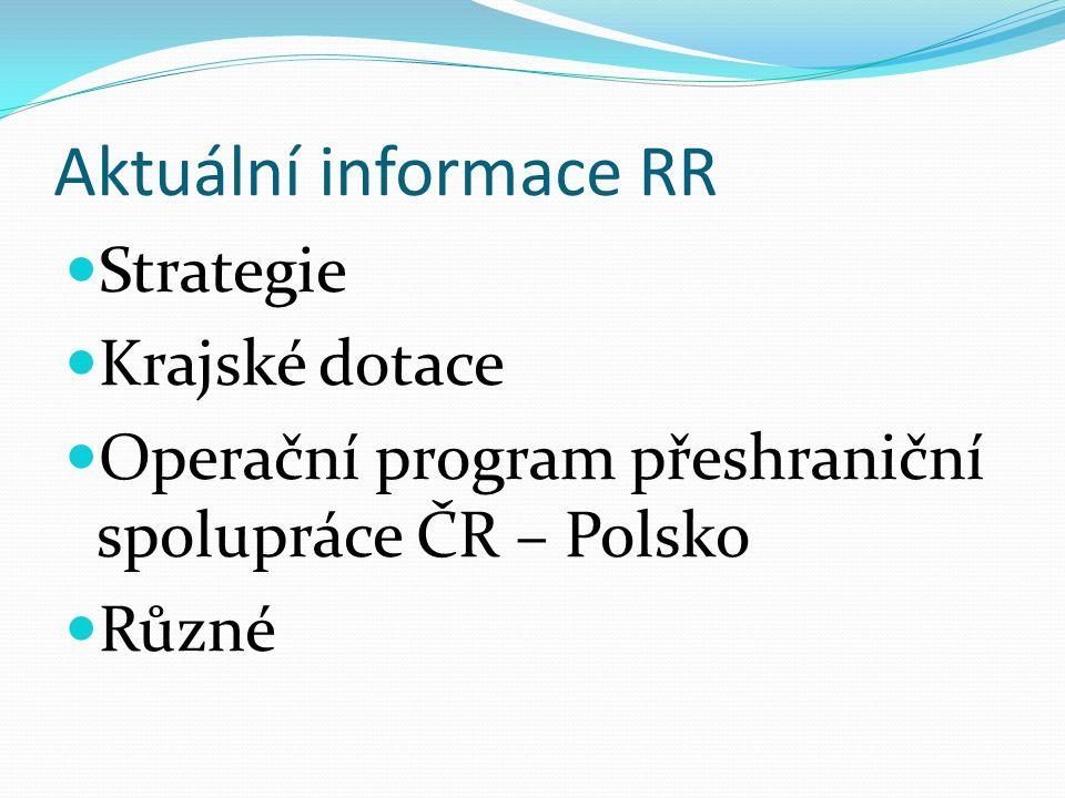 Aktuální informace RR Strategie Krajské dotace Operační program přeshraniční spolupráce ČR – Polsko Různé