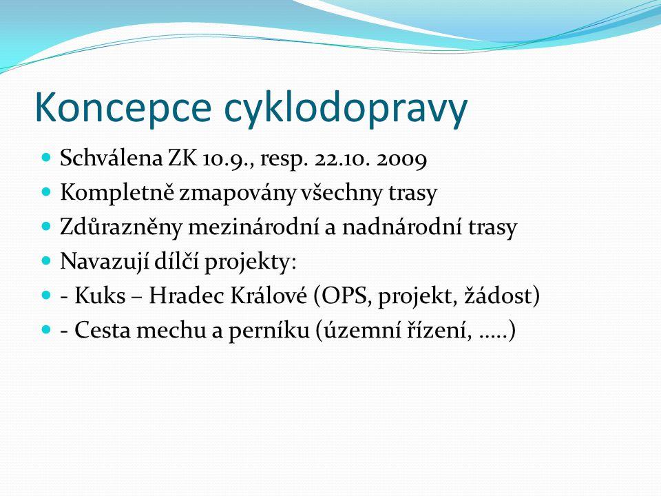 Koncepce cyklodopravy Schválena ZK 10.9., resp. 22.10. 2009 Kompletně zmapovány všechny trasy Zdůrazněny mezinárodní a nadnárodní trasy Navazují dílčí