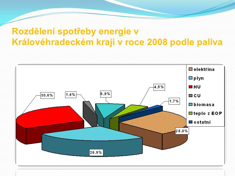 Rozdělení spotřeby energie v Královéhradeckém kraji v roce 2008 podle paliva