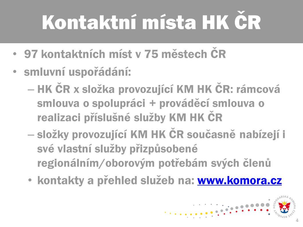 4 97 kontaktních míst v 75 městech ČR smluvní uspořádání: – HK ČR x složka provozující KM HK ČR: rámcová smlouva o spolupráci + prováděcí smlouva o re