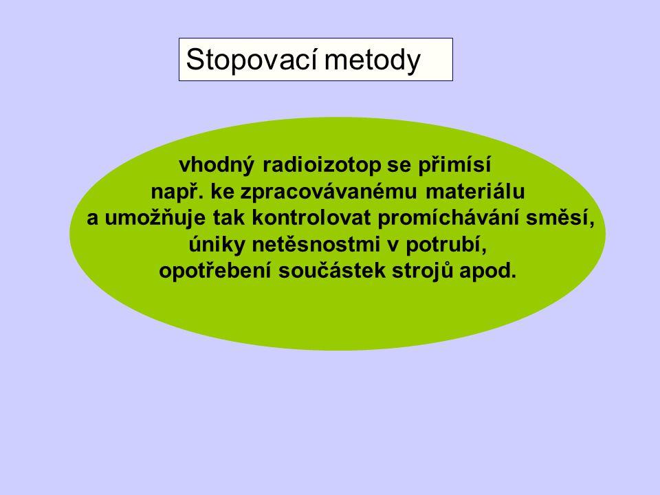 Stopovací metody vhodný radioizotop se přimísí např.